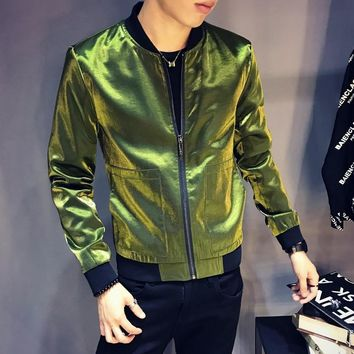 Shinny Black Blue Silve Green Jacket Men Slim Fit  BomberJacket Men Sharp Jaquetas Masculino Fancy DJ Club Outfit Bomber Homme