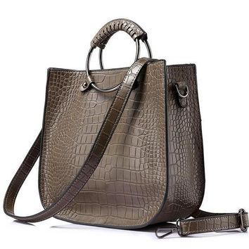 Female Alligator Pattern Handbag Ladies Hollow Out Design Tote Zipper Shoulder Cross Body Bag For Women