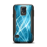 The Abstract Glowing Blue Swirls Samsung Galaxy S5 Otterbox Commuter Case Skin Set