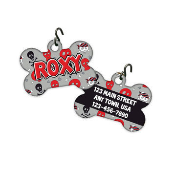 TWO SIDED!! Personalized Dog Bone Pet Tag ID Tag - Skull Rock Star Pirate Black Red Gray Name Address Monogrammed Girl Boy Female Male