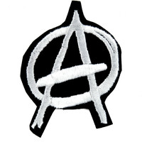 White Anarchy Sign Patch Iron on Applique Punk Rock Clothing