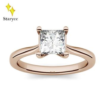 Certified 1.0ct 5.5mm Square Cut Moissanite Solitaire Engagement Ring in 14K Rose Gold Simulated Diamond Set Anniversary Jewelry