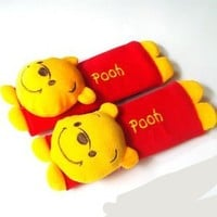 Winnie the Pooh Design Multi Use Auto Car seat belt cover Plush Seat Shoulder Pad Cushion 2 pcs One Pair