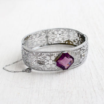 Antique Art Deco Purple Stone Filigree Bracelet - Vintage 1920s Rhodium Plated Silver Tone Thick Hinged Bangle Jewelry / RM Co.