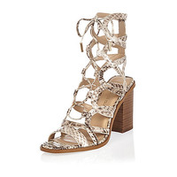 Beige snake print caged block heel sandals - heeled sandals - shoes / boots - women