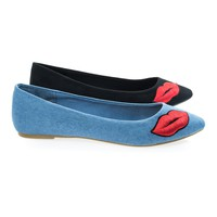 Sequel74M Jean Denim By Bamboo, Pop Art Pointed Toe Slip On Flat w Lip Kiss Embroidery Patchwork
