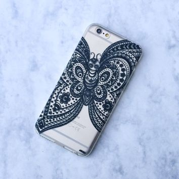 Henna Butterfly - Clear TPU Case Cover Phone Case