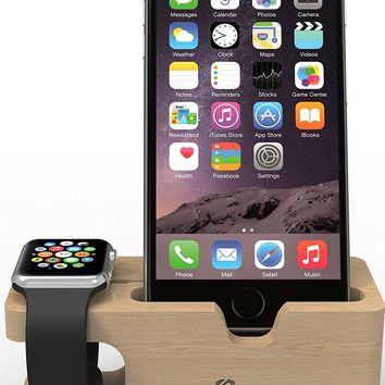 Apple Watch Stand: Stalion Desktop Charging Dock Station Universal Cradle Dock Holder for Apple Watch & iPhone X 6 6s 7 8 Plus (2in1)(Bamboo Wood)