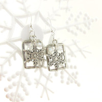 Snowflake Earrings Stained Glass Soldered Clear Frosted Glass
