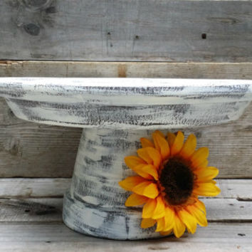 Rustic Wedding Cake Stand with Sunflower, Pedestal Cake Stand, Shabby Chic Cupcake Pedestal, Dessert Buffet Stand, Rustic Serving Platter