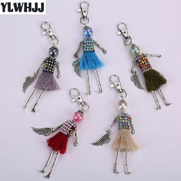 ESBONFI YLWHJJ brand new women cute rhinestone bag doll keychain Pendant wings tassel black fairy Girls Car key chains Fashion jewelry