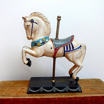 Vintage Cast Iron Carousel Horse by EitherOrFinds on Etsy