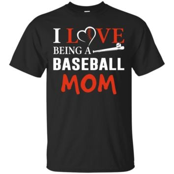 Funny Proud Mother I Love Being A Baseball Mom Gift T-shirts_Black