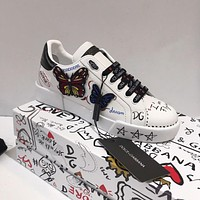 DOLCE & GABBANA Butterfly Fashionable and recreational small white shoe