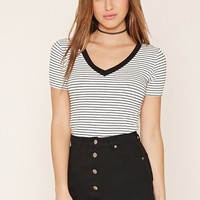V-Neck Ribbed Stripe Tee