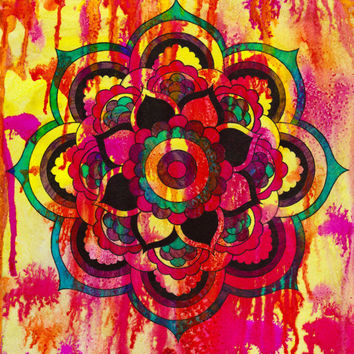 Mandala, Meditation, Hippie, Buddhist, Hinduism, Vibrant, Tiedye, Illustration, Original Art, Positive, Relaxing, Loving Kindness, New Age,