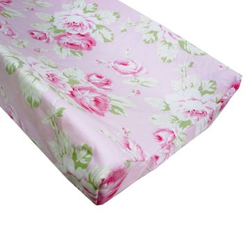 Changing Pad Cover   Shabby Chic Roses Ruffle