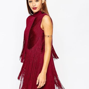 ASOS | ASOS Premium Fringe Drapey 20s Mini Shift Dress at ASOS