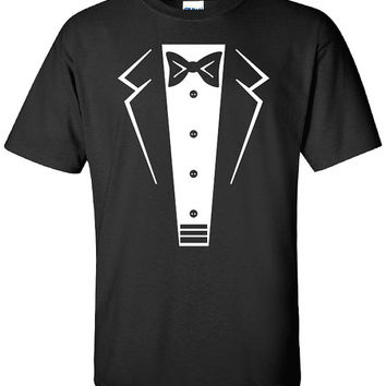 Tuxedo Tux penguin wedding bachelor party funny 80s cool drinking Printed graphic T-Shirt Tee Shirt t Mens Ladies Womens Youth Kids ML-078W