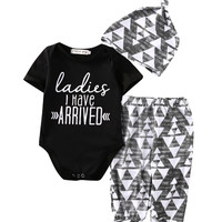 3PCS Set Newborn Baby Girl Boy Cotton Romper +Pants +Hat Outfits Toddler Clothes