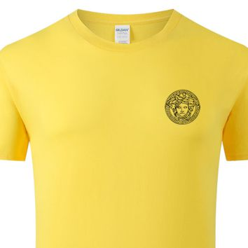 Versace New fashion bust side human head print couple top t-shirt Yellow