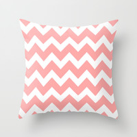 Chevron Coral Pink Throw Pillow by BeautifulHomes | Society6