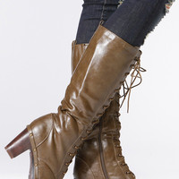 Khaki Faux Leather Calf Length Chunky Lace Up Boots