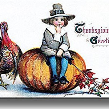 Thanksgiving Day Greeting by Frances Brundage Picture on Stretched Canvas, Wall Art Decor, Ready to Hang!