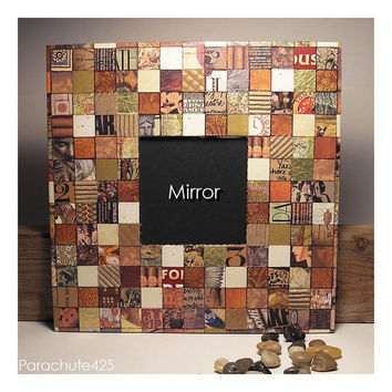 Mosaic Paper Collage Mirror, earth tones, ooak accent mirror, home accent, office decor