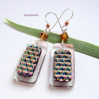 Textured Cabernet Dichroic Fused Glass Dangle Earrings - Handmade