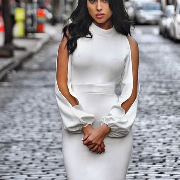 Vale White Cut Out Sleeve Stretch Crepe Dress