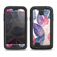 The Seamless Pink & Blue Color Leaves Samsung Galaxy S4 LifeProof Fre Case Skin Set