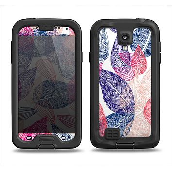 The Seamless Pink & Blue Color Leaves Samsung Galaxy S4 LifeProof Nuud Case Skin Set