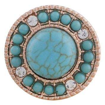 "Snap Charm Rose Gold Turquoise Stone Clear Crystals 21mm 3/4"" Diameter Fits Ginger Snaps"