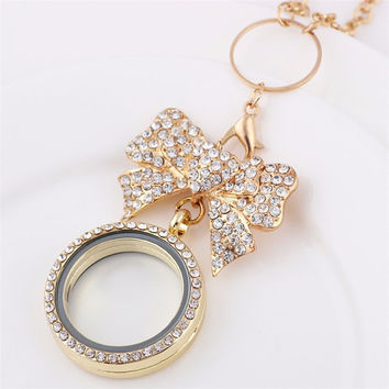 Rhinestone bowknot living locket necklace with chain
