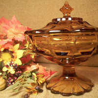 Vintage Pressed Glass Covered Candy Dish Amber Brown Compote Octagon Pedestal Crown Lidded Bowl Collectible Glassware Home Decor Glassware