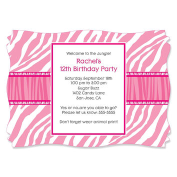 Pink Zebra - Personalized Birthday Party Invitations