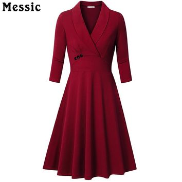 Messic Autumn A-line Dress Turn-Down Collar Women Elegant 3/4 sleeves Party Dresses Pleated Vintage Dresses With buttons Vestido