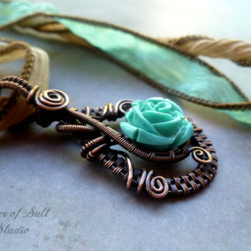 Wire Wrapped jewelry handmade, wire wrapped pendant necklace, copper jewelry, wire jewelry, turquoise rose, woven wire jewelry