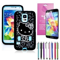 Epic Gadget(TM) Samsung Galaxy S5 i9600 Hybrid Heavy Duty Protective Combo Case Cute Blue Miss Kitty Shockproof Cover Skin With Built in Screen Protector + Free Screen Protector and 1 Stylus Pen (Hello Kitty Blue Case)