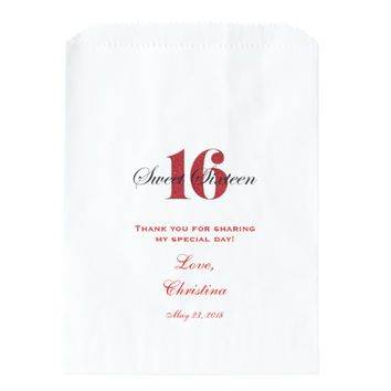 Sweet 16 Thank You Favor Candy Bar Buffet Favor Bag