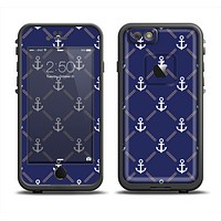 The Navy Blue & White Seamless Anchor Pattern Apple iPhone 6 LifeProof Fre Case Skin Set