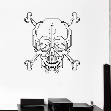 Wall Decal Computer Geek Skull PC Gamer Chip Vinyl Stickers Unique Gift (ig2966)