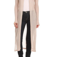 Women's Solid Double Slit Long Cardigan