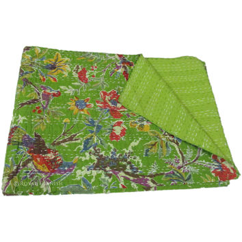 "60x90"" Indian Queen Kantha Quilt Floral Bedspread Blanket Bed Cover Throw Coverlet Ethnic India Decorative Art"
