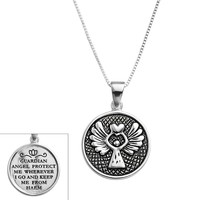 Timeless Sterling Silver Guardian Angel Pendant (Grey)