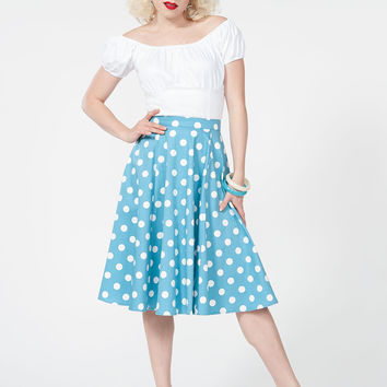 Simply Sweet Skirt in Blue & White Dots