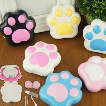 1PC Cartoon Cute Plastic Dog Cat Paw Mini Contact Lenses Box Contact Len Case Container Holder With Mirror (Random Color)