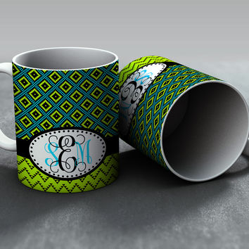 Aztec Green and Turquoise Monogram Mug