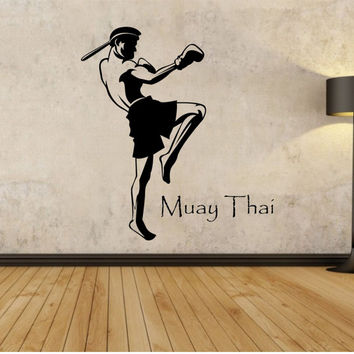 Muay Thai wall decall Decal Sticker Art Decor Bedroom Design Mural boys room boxer sport fitness health